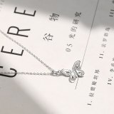 925 Sterling Silver 2020 Creative Design Full Diamond Butterfly Necklace Female Korean Popular Layered Necklace Mla0096