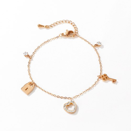 Hot Sell Korean Style Summer Women's Titanium Steel Bracelet Cool All-match Key Heart Ornament Women Bracelet Gb1071