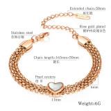 Best Selling European and American Fashion Stainless Steel Heart Bracelet Multi-Layer Titanium Steel Women Love Bracelet Gb1041