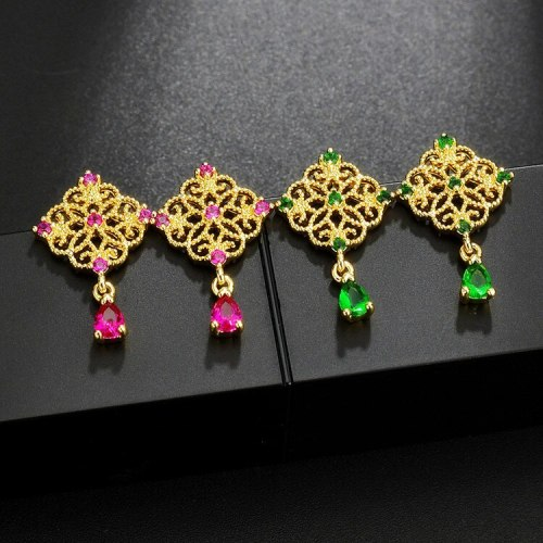 Vintage Emerald Lace S925 Sterling Silver Pin Gold-Plated Earrings Manufacturer Female Elegant Ear Stud Qx1343