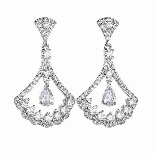 Fan-Shaped Gorgeous Earrings S925 Sterling Silver Ear Pin AAA Zircon Inlaid Elegant Dinner Accessories Qx1313868