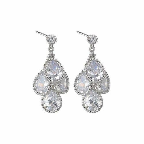 Korean-Style Exquisite Drop AAA Zircon Earrings Ear Pendant S925 Sterling Silver Ear Pin Qx1367