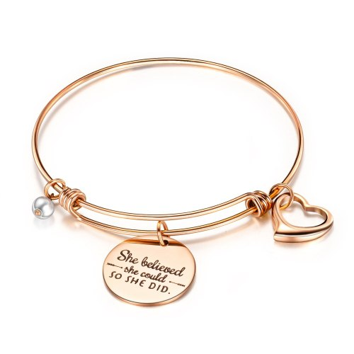Hot Selling Creative Lettering She believed she could Inspirational Heart Bracelet Titanium Steel Women Bracelet Bangle Gb961