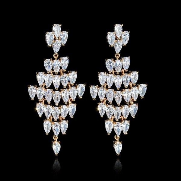 Wedding Long Luxury Earrings 925 Sterling Silver Pin European and American AAA Drop Zircon Ear Stud Large Ear Pendant Qx957899