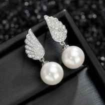 925 Sterling Silver Needle Pearl Earrings AAA Zircon Korean Fashion Angel's Wings Ear Stud Earrings Manufacturers Qx1138