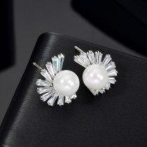 Fashion Simple Korean-Style Ear Stud S925 Sterling Silver Needle AAA Zircon Girl Pearl Earring Stud Qx1401
