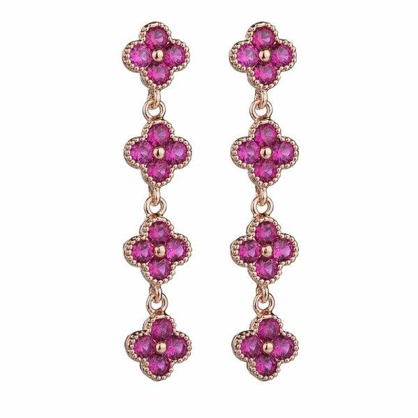 Ruby Stud Earring Inlaid Red Corundum 925 Silver Needle  Gorgeous  European and American Earrings Qx815