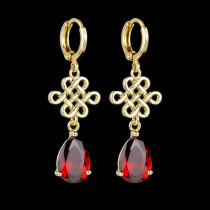 Chinese Knitting Pattern Zircon Earrings 14K Gold Plated Colorful Drop Zircon Female Earrings Qx439550