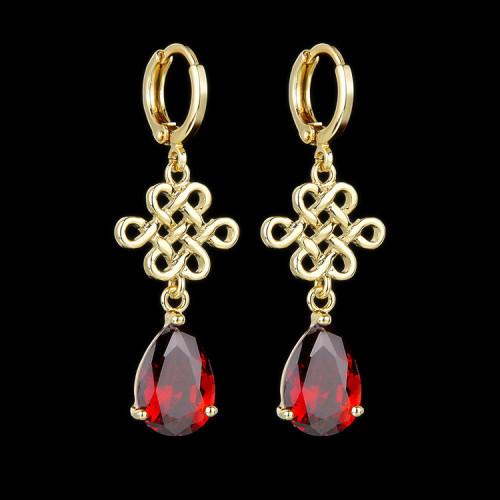 Chinese Knitting Pattern Zircon Earrings 14K Gold Plated Colorful Drop Zircon Female Earrings Qx439550