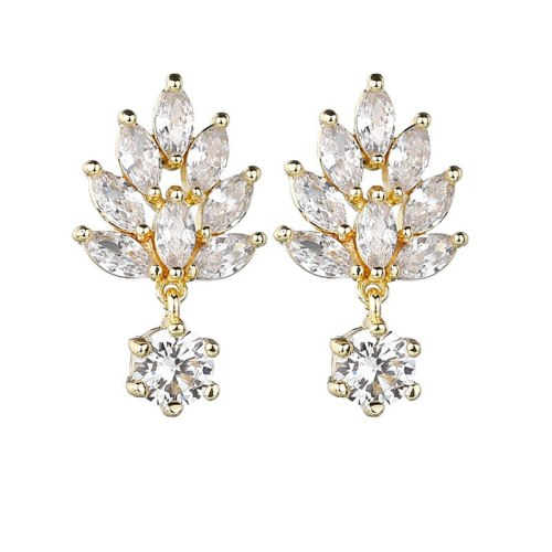 Korean Simple Fashion 16K Gold Earring Stud AAA Zircon Inlaid S 925 Sterling Silver Pin Earrings for Women Qx1331