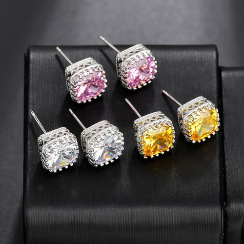 Zircon Earrings Exquisite Simple Korean Style High-End Ear Stud Earrings for Women Qx1240