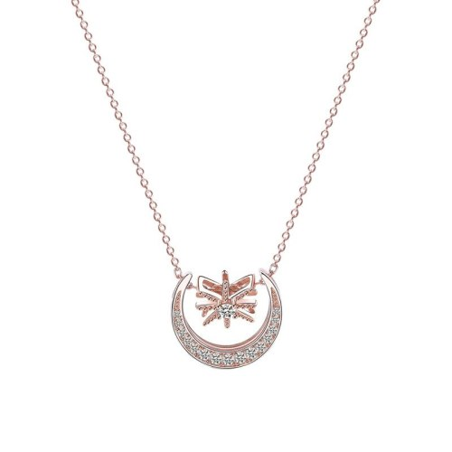 S925 Sterling Silver Ornament Korean Elegant Necklace Female Micro Pave Zircon Moon Necklace Mla1501