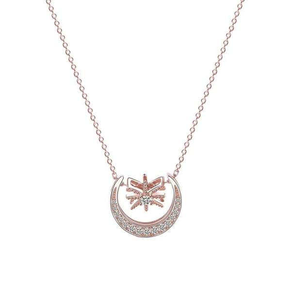 S925 Sterling Silver Ornament Korean Elegant Necklace Female Micro Pave Zircon Moon Necklace Mla1501