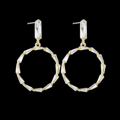 Korean-Style Geometric Ring Ear Pendant Copper Inlaid AAA Zircon 925 Sterling Silver Ear Pin Gold Earrings Qx1256