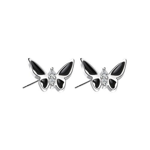 S925 Sterling Silver 2020 Creative Design Zircon Epoxy Technology Butterfly Ear Stud Popular Earrings mlE1514