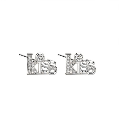 925 Sterling Silver Kiss Lettered Earring Stud Female Fashion Ol Korean Zircon Small Earring Stud Wholesale Ml2040