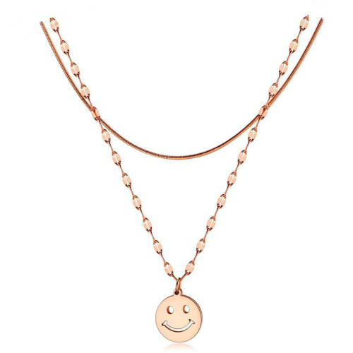 Cute Smiley Face Emoji Pendant Fashion Simple Titanium Steel Rose Gold Double Layer Clavicle Chain Women Necklace Gb1580