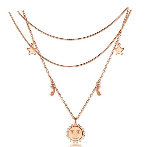Fashion Round Plate Multi-layer Necklace Moon and the Stars 2-in-1 Rose Gold Plated Clavicle Chain Women Necklace Gb1581