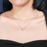 S925 Sterling Silver Shell Swan Necklace Female Ins Fashion Retro Korean White Shell Silver Necklace Clavicle Chain Mla1909