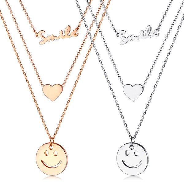 New Fashion Heart Smiling Face Stainless Steel Multi-layer Necklace Titanium Steel FWomen Clavicle Chain Necklace Gb1589