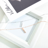European and American New Simple Rectangular Love Stainless Steel Clavicle Chain Titanium Steel Women's Necklace Gb1587