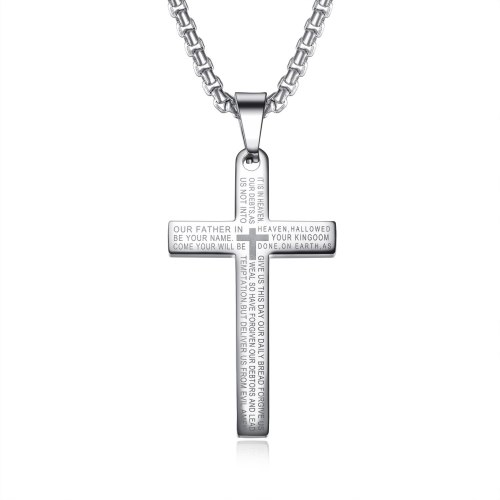 Stainless Steel Necklace Cool Vintage Cross Scripture Pendant Men's Titanium Steel Necklace Gb1596