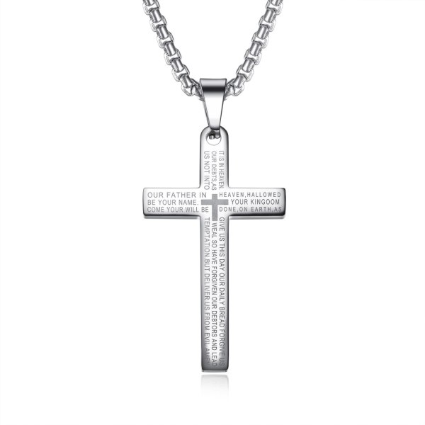 Stainless Steel Necklace Cool Vintage Cross Scripture Pendant Men's Titanium Steel Necklace Gb1596