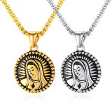 Titanium Steel Necklace Hip Hop Small round Pendant Virgin Mary Head Necklace Stainless Steel Male Necklace Jewelry Gb1627