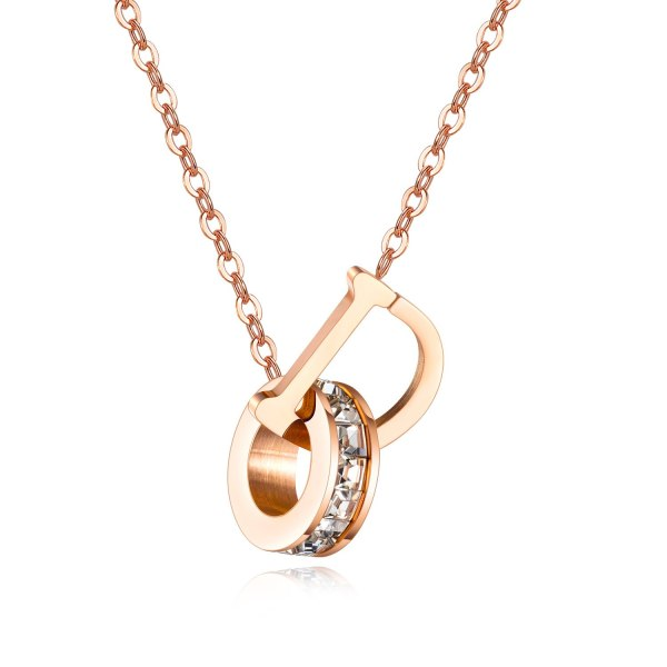 South Korea Fashion Jewelry Wholesale Stainless Steel Circle Clavicle Chain Rose Gold Letter Women's Necklace Gb1608