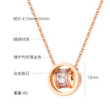 Stainless Steel Fashion Transport Double Ring Necklace Clavicle Chain Female Simple Pendant All-match Necklace Jewelry Gb1642
