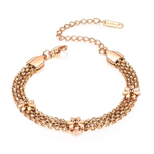 Popular Jewelry Simple Multi-Layer Rose Gold-Plated Flower Hand Jewelry Titanium Steel Women Daisy Bracelet Gb1040