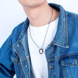 Fashion Accessories Wholesale Mobius Strip Necklace Ring Cool Titanium Steel Circle Men's Pendant Jewelry Gift Gb1575