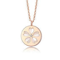 2020 Popular Fashion All-match Stainless Steel Necklace Female Simple White Mother Shell Shengfang Petal Pendant Gb1661
