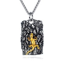 European-Style Stainless Steel Necklace Cool Vintage Lizard Casting Pendant Men's Titanium Steel Tag Necklace Gb1603