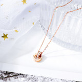 Korean Style Simple Stainless Steel Necklace Women's All-match Circle Ring Pendant Clavicle Chain Gb1643
