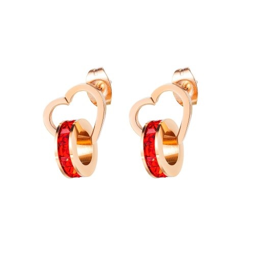 Ornament Wholesale Classic Personality Love Double Ring Ear Stud Red Zircon Fashion Women's Titanium Steel Earrings Gb591