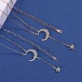 S925 Sterling Silver Star Moon Necklace Women's Fashion Retro Korean-Style Micro Pave Zircon Star Moon Clavicle Chain Mla1882