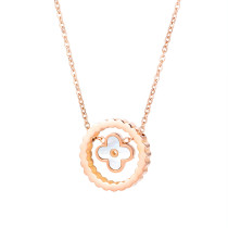 2020 New round Petal Stainless Steel Necklace Simple Creative Women Titanium Steel Pendant Clavicle Chain Gb1677