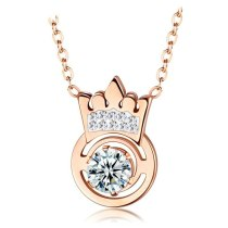 Japan and South Korea Ornament Titanium Steel Plated Rose Gold Necklace Crown Pendant Women's Necklace Gift Gb1576