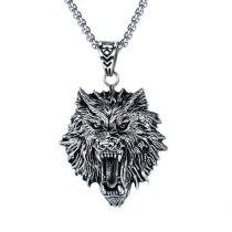 Vintage Ornament Punk Rock Cool Stainless Steel Pendant Titanium Steel Wolf Head Men's Necklace Boyfriend Gift Gb1600