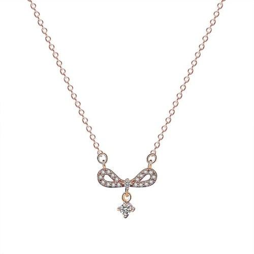 S925 Sterling Silver Bow Necklace Women's Fashion Retro Korean Hipster Diamond Set Zircon Pendant Clavicle Chain Mla1883