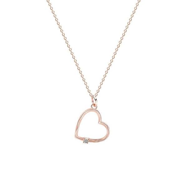 S92 Sterling Silver Geometric Necklace Fashion All-match Love Heart Bush Chain Women Diamond Set Clavicle Chain Jewelry Mla1511
