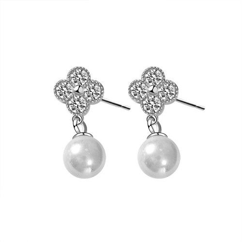 S925 Sterling Silver Clover of Four Leaves Earring Fashion Korean Pearls Stud Earring Pendant Jewelry Earrings for Women MLE2114