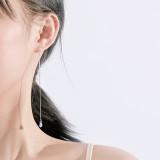 S925 Silver New Purple Zircon Hanging Earrings South Korea Popular Ear Rings Accessories Wholesale MLE2145