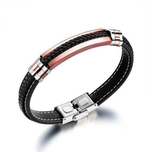 European and American Style Simple Stainless Steel Leather Bracelet Titanium Steel Men's Woven Leather Bracelet Bangle Gb1358