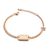 Fashion Hand Jewelry Wholesale Simple Pattern Square Rose Gold Plated Bracelet Titanium Steel Star Women's Bracelet Gifts Gb1035
