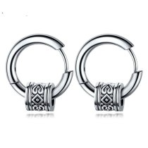 Korean Style Men's Circle Ear Stud Cool Vintage Fashion Earrings Stainless Steel Men's Stud earringsGb557