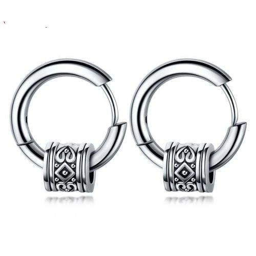 Korean Style Men's Circle Ear Stud Cool Vintage Fashion Earrings Stainless Steel Men's Stud earringsGb557