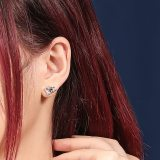 925 Sterling Silver Kiss Lettered Earring Stud Female Fashion Ol Korean Zircon Small Earring Stud Wholesale Ml2040