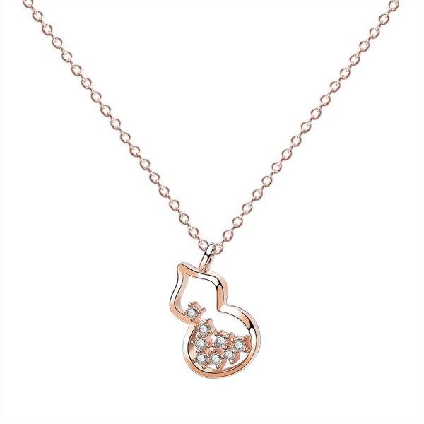 S925 Sterling Silver Gourd Necklace Female Fashion Retro Korean Micro Pave Zircon Necklace Clavicle Chain Silver Jewelry Mla1908